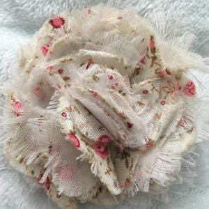 Cloth floral hair clip with safety pin (brooch)